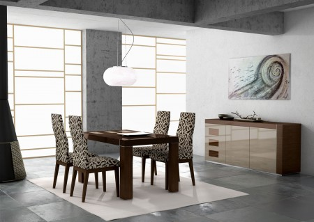 Irene Lacquered Modern Wood High Gloss Dining Set - Made in Spain