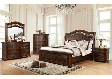 Janiya Bedroom Set in Brown Cherry Finish
