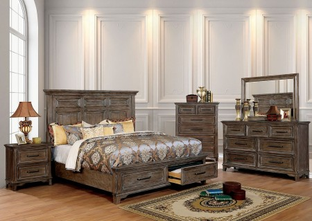 Oberon Traditional Bedroom Set in Rustic Oak with Storage Bed