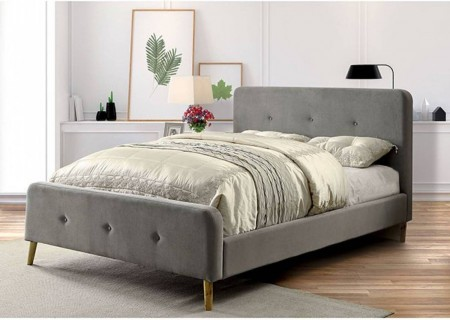 Barney Platform Bed in Gray Fabric