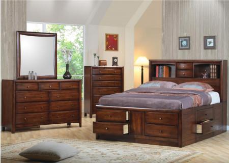 Hillary and Scottsdale Bedroom Set in Walnut Finish Wood
