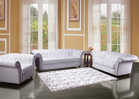 50165 Cadmen Living Room Set in White Leather