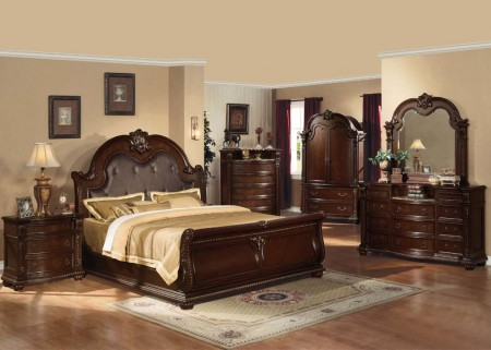 Anondale Bedroom Set in Dark Cherry Finish and Marble