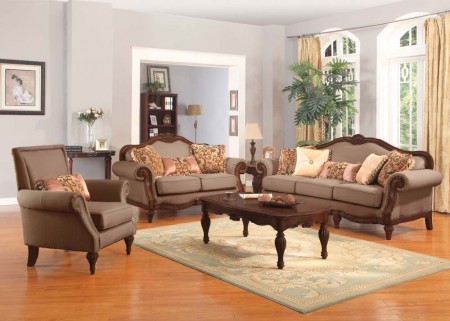 Archaise Living Room Set in Amber Chenille Fabric