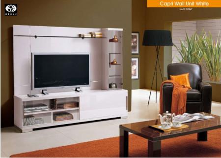 Capri White Modern High Gloss Solid Wood Italian Wall Unit