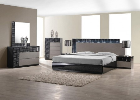 Roma Modern Bedroom Set in Black and Grey Lacquer Finish