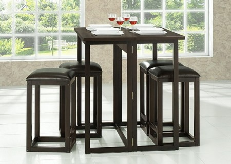 RT174-175-OCC Leeds Brown Wood Collapsible Pub Table Set