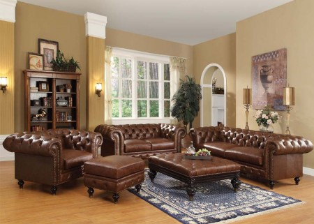 Shantoria Traditional Living Room Set in Brown