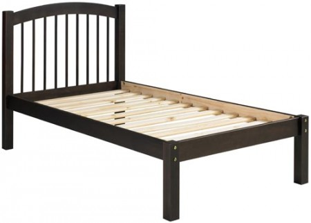 Alaska Solid Wood Platform Bed in Java and Honey Colors