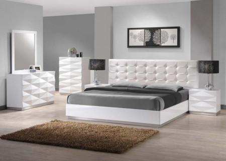 "Verona Modern Bedroom Set in White - USE CODE ""sale"" GET 10% OFF"