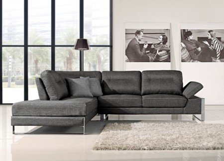 Verona Modern Sectional Sofa in Grey Fabric Sliding Back