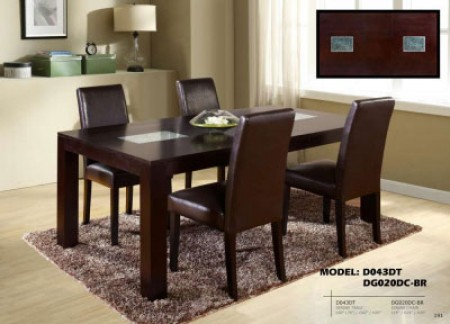 Brown Chairs D043DT Brown Wood Dining Set with Glass Inserts