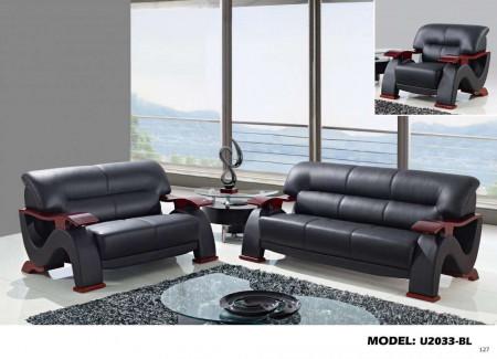 U2033 Living Room Set in Black Leather by Global Furniture
