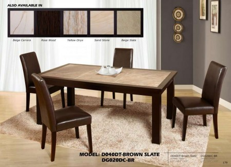 D040DT Brown Slate Dining Set with Brown Leather Chairs