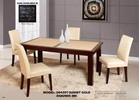 D042DT Sunset Gold Dining Room Set with Cream Chairs