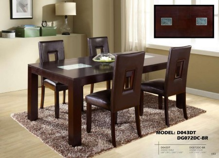 Brown Cut Out Back Chairs D043DT Dining Set with Glass Inserts