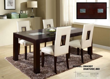 Cream Cut Out Back Chairs D043DT Dining Set with Glass Inserts