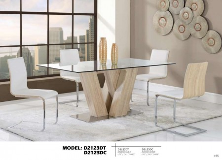 D2123DT Tempered Glass Top  Modern Dining Room Set