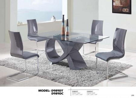 D989DT Tempered Glass Top Modern Brown Dining Room Set