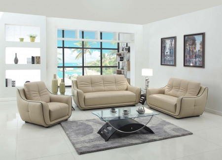 2088 Modern Living Room Set in Beige Leather