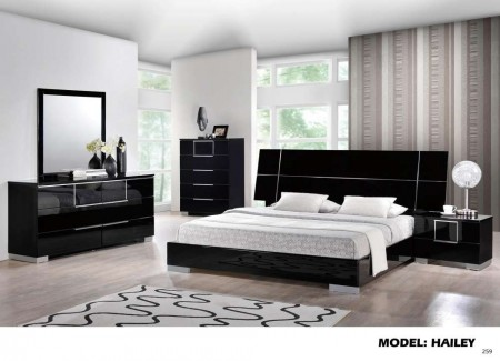 Hailey Black High Gloss Modern Wood Bedroom Set