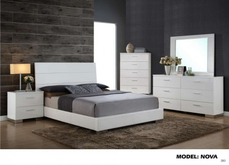 Nova White Contemporary Bedroom Set by Global Furniture