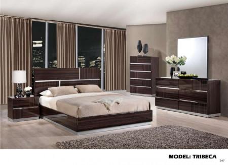 Tribeca Brown High Gloss Modern Wood Bedroom Set