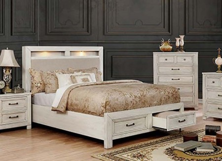 Tywyn Bedroom Set in Antique White with Storage Bed