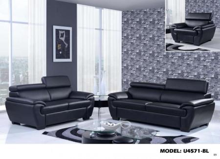 U4571 Global Furniture Living Room Set in Black Leather