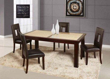 D042DT Sunset Gold Dining Set with Brown Cut Out Back Chairs