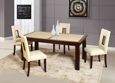 D042DT Sunset Gold Dining Set with Cream Cut Out Back Chairs