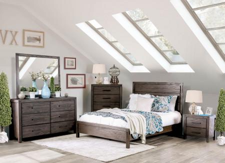 Rexburg Modern Bedroom Set in Wire Brushed Rustic Brown