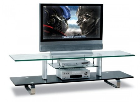 Tempered Glass Walnut Contemporary TV Stand 01