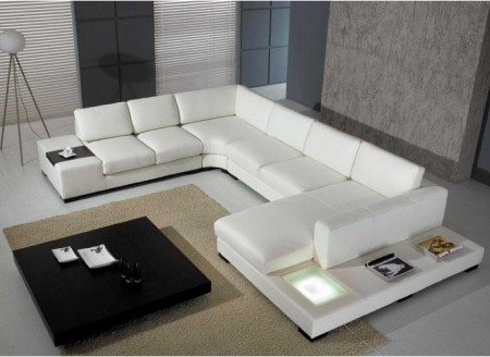 Divani Casa T35 Large Sectional Sofa in White Leather
