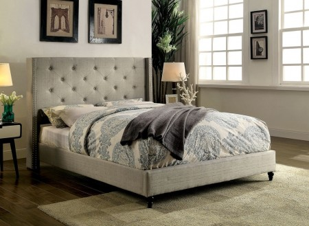 Anabelle Winged Platform Bed in Gray Fabric