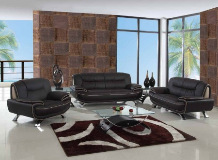 405 Modern Living Room Set in Brown Leather by UFG