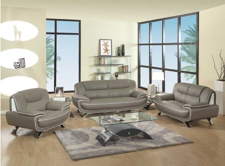 405 Modern Living Room Set in Grey Leather