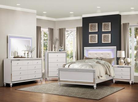 Homelegance 1845LED Alonza Bedroom Set in White Color