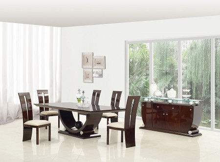 D12117 Dining Room Set in Dark Brown Lacquer Finish