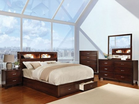 Gerico Bedroom Set in Brown Cherry with Storage Bed