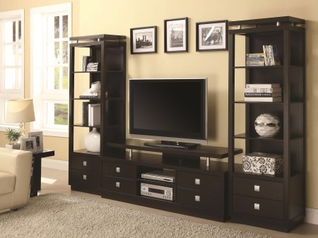 700696 Contemporary Cappuccino Home Theater Furniture Units