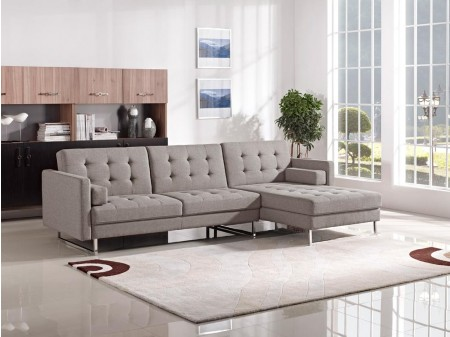 Divani Casa Smith Sofa Bed Sectional in Brown Fabric