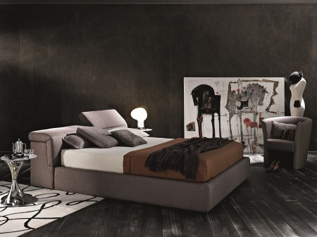 J&M Tower Italian Storage Bed in Taupe Grey Fabric