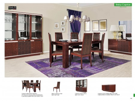 Caprice Italian Dining Room Set in Brown Color