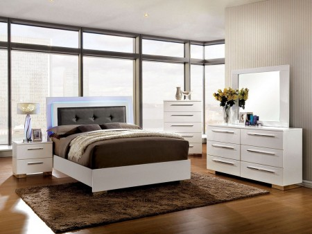 Clementine White Bedroom Set with LED Tufted Headboard