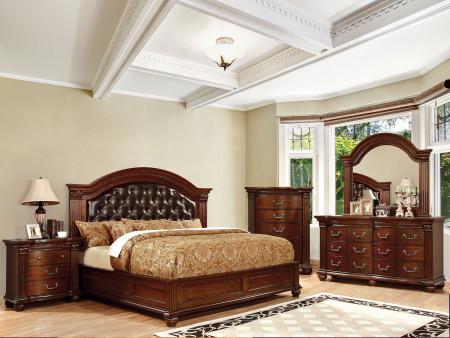 Grandom Bedroom Set in Cherry Finish and Espresso Headboard