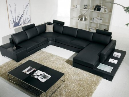 Divani Casa T35 Large Sectional Sofa in Black Leather