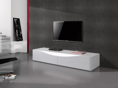 Zao Contemporary TV Stand in White Lacquer Finish
