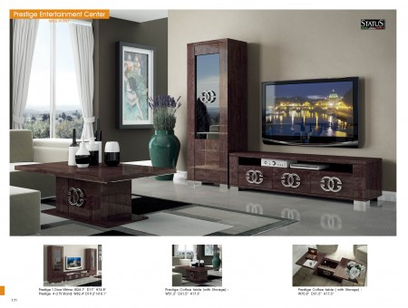 Prestige Brown Glossy Italian Wall Unit TV Stand