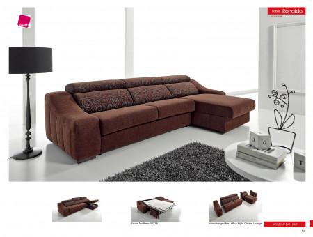 Ronaldo Sleeper Sectional Sofa in Brown Fabric